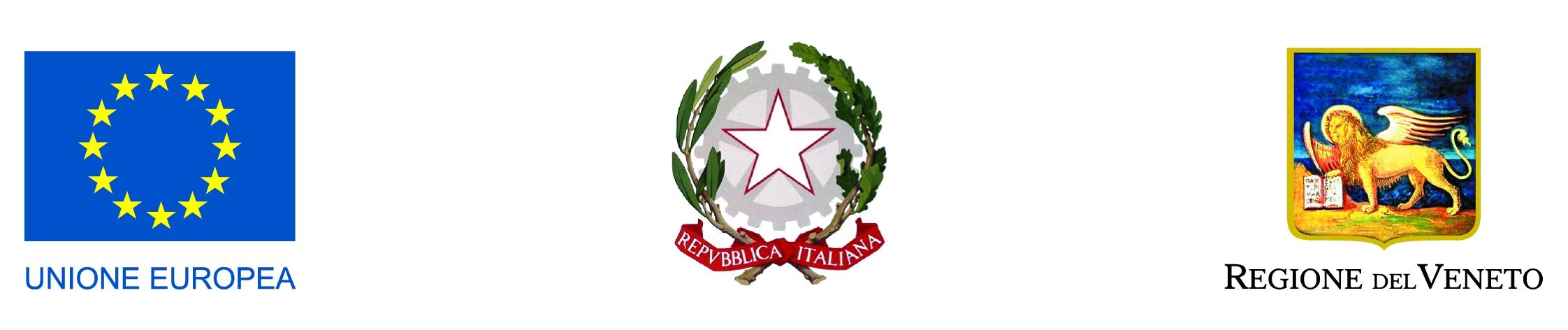 Loghi: Unione Europea, Repubblica Italiana e Regione del Veneto